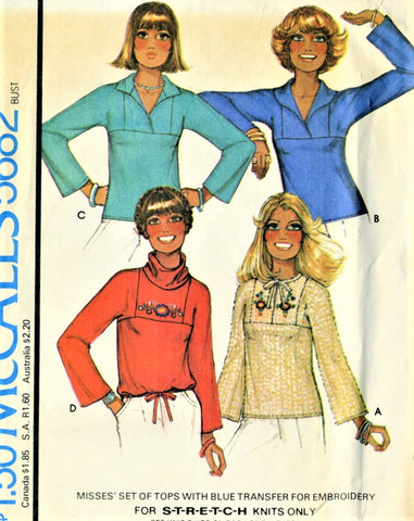 RETRO 70s McCalls 5682 Misses Boho Pullover Summer Tops Blouse Sewing Pattern + Embroidery Transfer Size Petite UNCUT