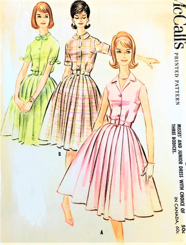 1960s McCALLS 5774 Shirtwaist Dress Pattern Three Pretty Bodice Versions Bust 35 Vintage Sewing Pattern