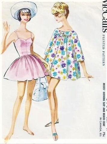 FAB 1960s Bathing Suit Beach Wear Pattern McCALLS 5906 Sweetheart Swim Suit Playsuit and Beach Coat Cover Up Bust 32 Vintage Sewing Pattern
