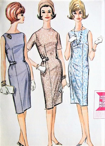 1960s Easy to Sew Sheath Dress McCalls 6803 Wiggle Sleeveless Dress Bust 34 Vintage Sewing Pattern