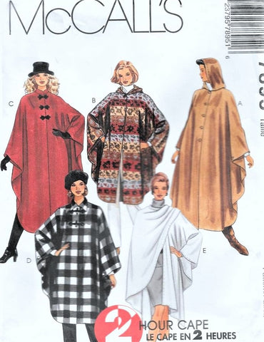 Easy Cape or Wrap Pattern, 2 Hour McCalls 7895, Curved Hem, Button Front with Hood or Collar Options, Day or Evening Styles Bust 40-44 UNCUT Vintage Sewing Pattern