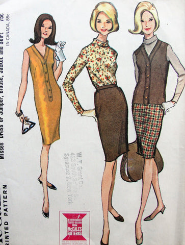 1960s Dress or Jumper,Blouse,Jacket and Skirt Pattern McCalls 7900 V Neck Dress or Jumper,Bias Collar Blouse,Slim Skirt Bust 36 Vintage Sewing Pattern FACTORY FOLDED