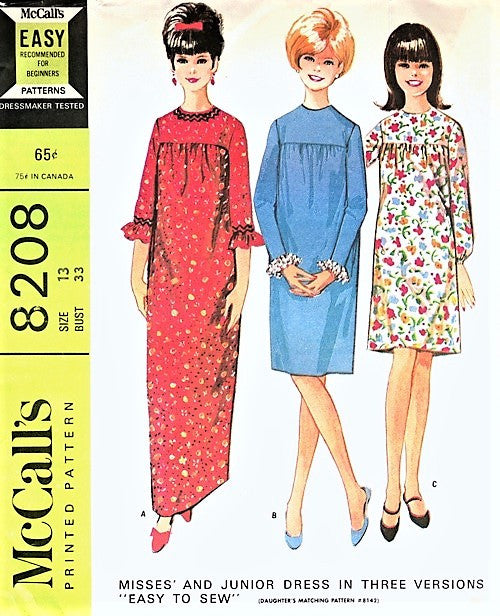 CUTE 1960s GRANNY Gown Dress Pattern McCALLS 8208 Three Versions EASY to  Sew Bust 30 Vintage Sewing Pattern UNCUT