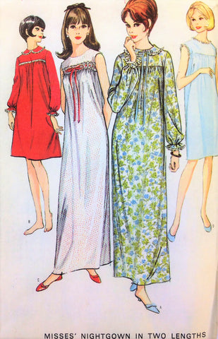 CUTE 1960s Ladies Comfy Granny Style Nightgown Pattern McCALLS 8256 Vintage 60s Sewing Pattern DAINTY Vanity Fair Style Modest Square Yoked Nightgown, Long or Short Nightie Gown Size 16