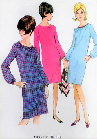 60s MOD Shift Dress Pattern McCALLS 8362 Cute Slim Dress Bust 31 Vintage Sewing Pattern UNCUT