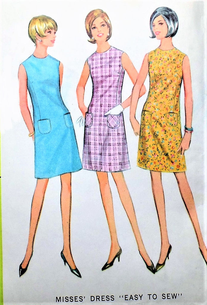 1960s CUTE Mod Shift Dress Pattern Easy To Sew McCALLS 8654 Three Style Versions Bust 31 Vintage Sewing Pattern