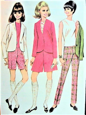 MOD 60s Jacket, Top, Culottes Divided Skirt, Slim Pants or Shorts Pattern McCALLS 9093 Cute Styles Great Travel Wardrobe Size 8 Vintage Sewing Pattern