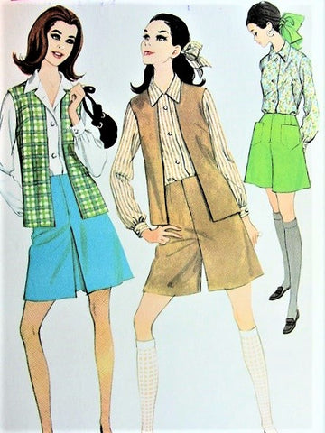 MOD 60s TWIGGY FASHION Separates Pattern McCalls 9129 Skirt, Culottes, Shirt and Sleeveless Jacket or Vest Size 8  Vintage Sewing Pattern