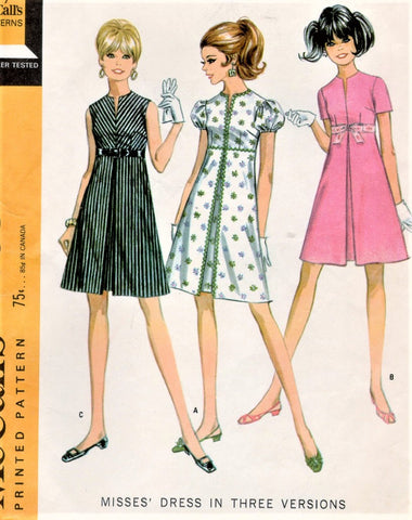 1960s CUTE Mod Empire Dress Pattern McCALLS 9558 Three Styles Bust 31 Vintage Sewing Pattern UNCUT