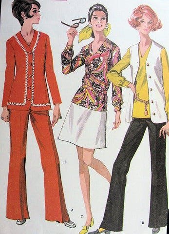 1960s Mod Jacket Vest Bell Bottom Pants Pants Suit Skirt V Neck Blouse Pattern McCalls 9586 Great Travel Wardrobe Bust 32 Vintage Sewing Pattern