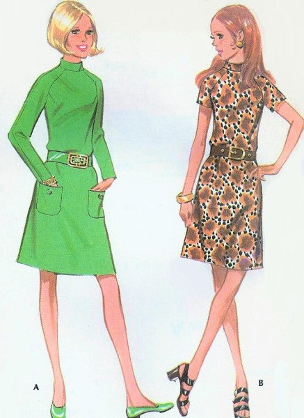 1970s Cute Dress Pattern McCalls 2596 Vintage Sewing Pattern Dress in Two Style Versions Size 8 FACTORY FOLDED