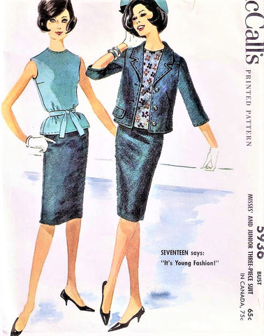 60s Tippi Hedren Style Suit Pattern McCalls 5936 Slim Skirt, Overblouse and Boxy Jacket Bust 32 Vintage Sewing Pattern