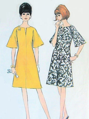 60s MOD Dress Pattern McCALLS 8184 A Line Slit Neckline and Bell Sleeves Bust 34 Easy To Sew Vintage Sewing Pattern