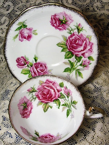 CHARMING Vintage Teacup and Saucer Royal Standard English Bone China Lush Pink Roses Orleans Rose Vintage Cup and Saucer Tea Time China Collectible Cups and Saucers