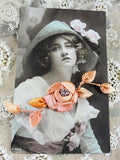 BEAUTIFUL French Ribbonwork Large Spray of Roses Buds Rosette Ribbon Flowers 1920s Flapper era Floral with Stamens Peachy Pink Never Used