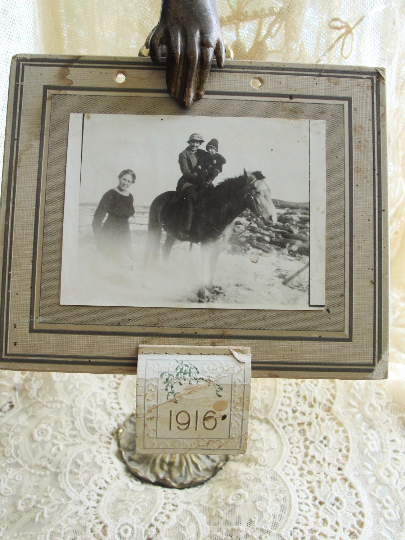 CUTE Antique 1916 Calendar Lady and Child On Horse Photo Rustic Cabin Cottage Shabby Chic Decor
