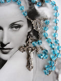 LOVELY Vintage Sparkling Blue Crystal Rosary and Silver Metal Rosary Beads Necklace Collectible Jewelry