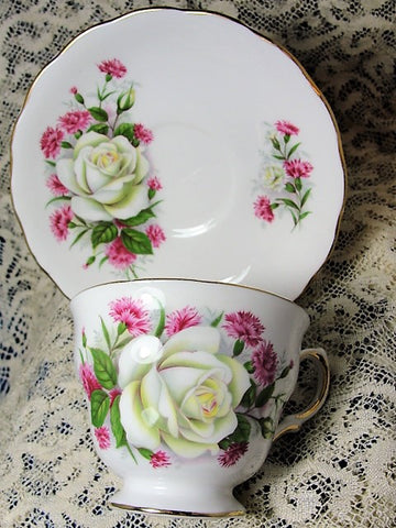 LOVELY Vintage Teacup and Saucer Royal Vale English Bone China Lush White Roses Vintage Cup and Saucer Tea Time Cups and Saucers Bridal Gifts House Warming Gift