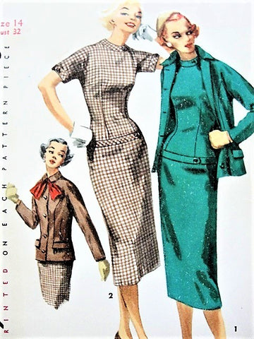 1950s STYLISH Slim Dress and Fitted Jacket Pattern SIMPLICITY 1271 Sleek Figure Show Off Dress Bust 32 Vintage Sewing Pattern UNCUT