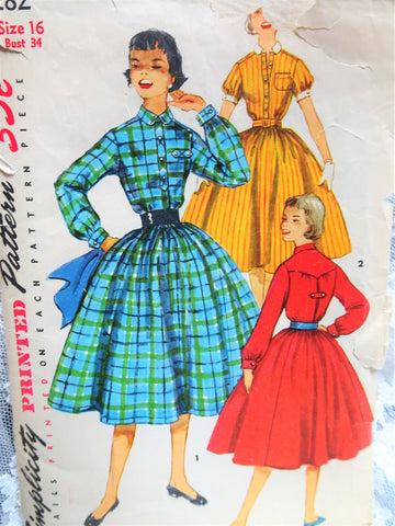 1950s ROCKABILLY Shirtwaist Dress Pattern SIMPLICITY 1282 Two Versions Bust 34 Vintage Sewing Pattern