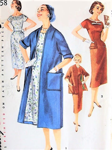 50s CHIC Dress with Detachabled Neck and Sleeve Trim, Coat Vintage Simplicity Pattern 1458 Bust 31 Vintage Sewing Pattern