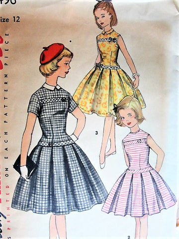 50s LOVELY Girls Dress Pattern SIMPLICITY 1496 Drop Waist Party Dress Detachable Collar Size 7 Vintage Childrens Sewing Pattern
