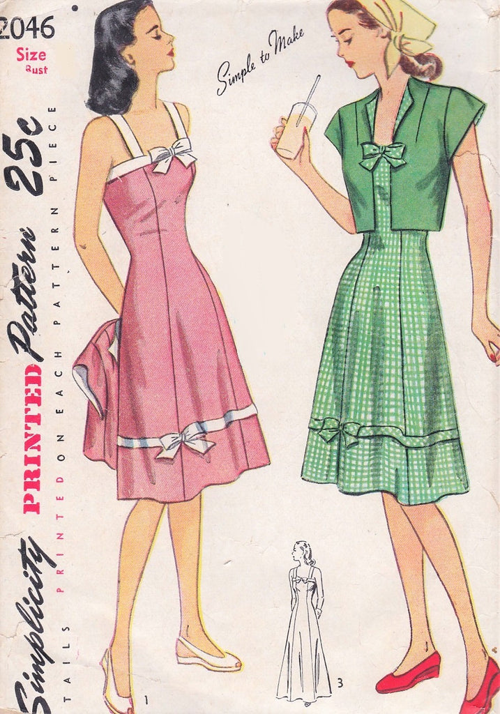 40s PRETTY Sun Dress and Bolero Jacket Pattern SIMPLICITY 2046 Day or Evening Length Dress Bust 32 Vintage Sewing Pattern