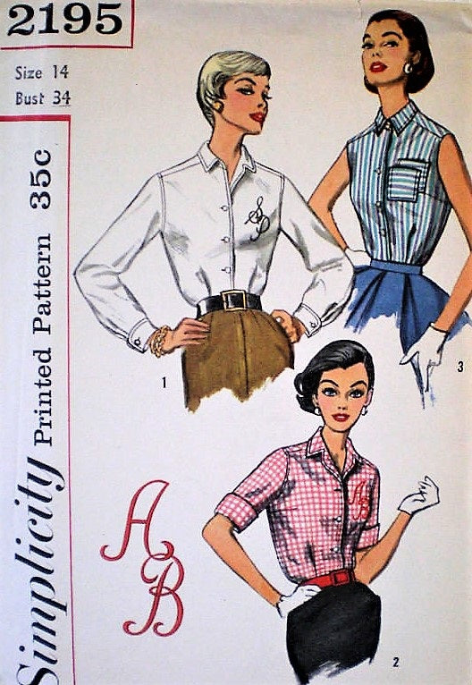 50s CLASSIC Tailored Blouse Pattern SIMPLICITY 2195 Bust 34 Vintage Sewing Pattern Includes ALPHABET TRANSFER