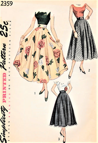 40s BEAUTIFUL Skirt Pattern SIMPLICITY 2359 Ballerina or Daytime Length Circle Skirt Figure Flattery Waist 24 Vintage Sewing Pattern FACTORY FOLDED