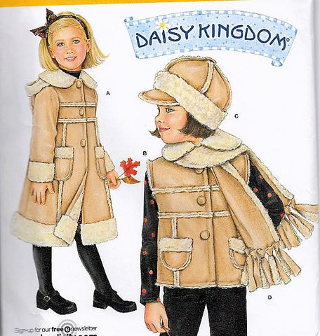 Little girls DAISY KINGDOM 2778 Childrens Coat,Vest,Scraf and Hat Size 3-8 SIMPLICITY 2778 Toddler Child Winter Vintage Sewing Pattern UNCUT