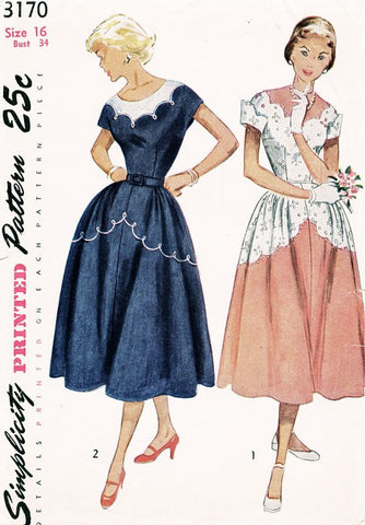 1950s LOVELY Day or Party Dress Pattern SIMPLICITY 3170 Pretty Full Skirt Dress With Scallop Details Bust 34 Vintage Sewing Pattern FACTORY FOLDED