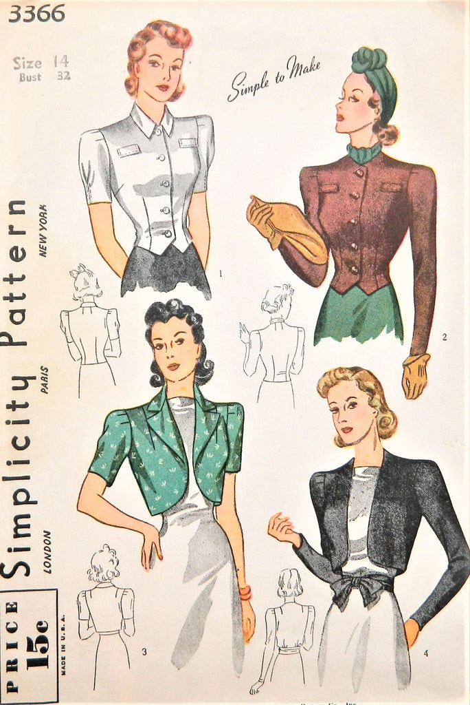 1940 LOVELY Bolero Jackets and Blouse Pattern SIMPLICITY 3366 Blouse and 3 Wonderful Style Versions Bust 32  SIMPLE To Make Vintage Sewing Pattern FACTORY FOLDED