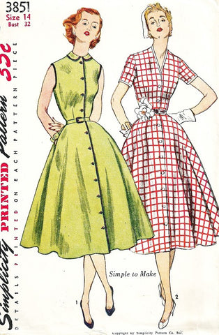 50s PRETTY Day Dress Pattern SIMPLICITY 3851 Peter Pan or V Neckline Full Skirt Dress Front Button Bust 34 Vintage Sewing Pattern