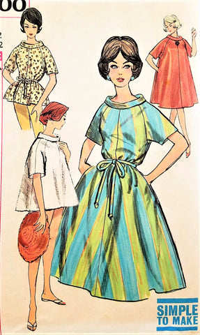 1960s STYLISH Tent or Pop On Dress or Top Pattern SIMPLICITY 4000 Simple To Make Day or Patio Dress or Beach Cover Up Bust 34 Vintage Sewing Pattern FACTORY FOLDED