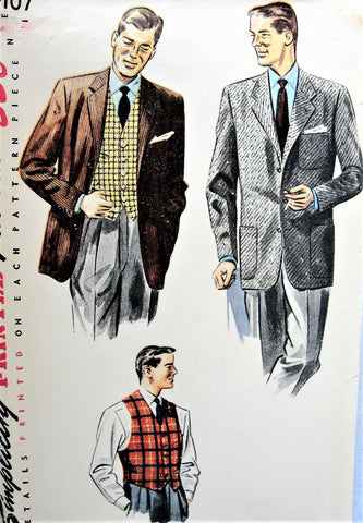 50s Vintage HANDSOME Men's Vest and Jacket Simplicity 4107 Sewing Pattern Chest 36