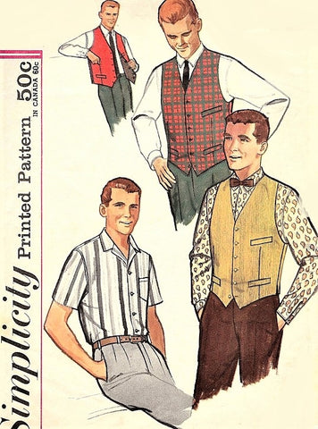 60s CLASSIC Gentlemens Shirt,Vest and Reversible Vest Pattern SIMPLICITY 4160 Short or Long Sleeved Shirt Chest 38 Vintage Mens Sewing Pattern