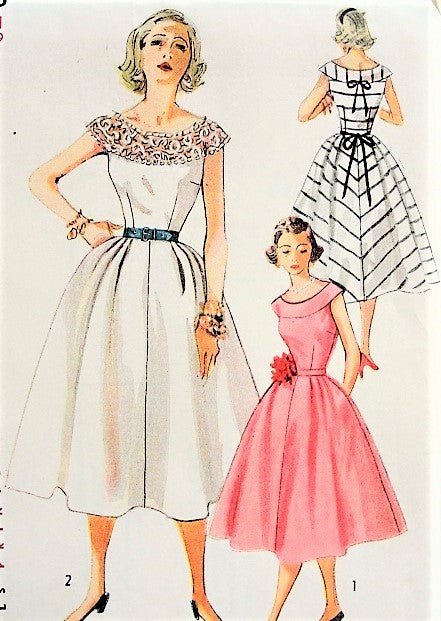 50s LOVELY Day or Party Dress Pattern SIMPLICITY 4328 Round Yoke Sun or Cocktail Dress Bust 29 Vintage Sewing Pattern