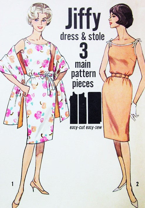 60s CUTE Jiffy Slim Dress and Stole Pattern SIMPLICITY 4471 Two Style Versions Day or Evening Bust 34 Vintage Sixties Sewing Pattern