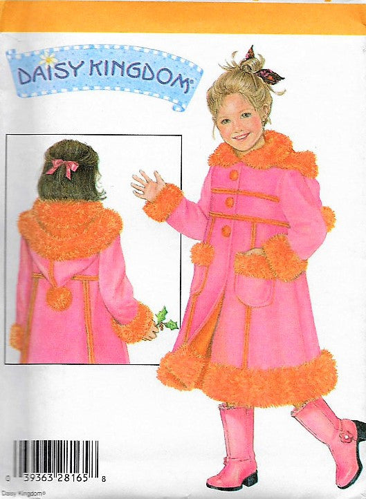 Vintage DAISY KINGDOM  Adorable Girls Childs Fleece Coat With Detachable Hood Pattern Simplicity 4515 Sweet Design Sizes5-8 Vintage Sewing Pattern UNCUT