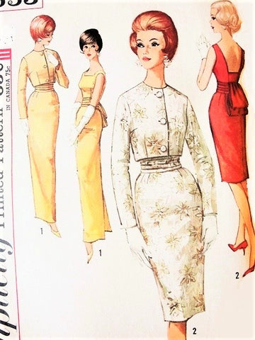 60s Elegant MAD MEN Evening Cocktail Wiggle Dress Gown SIMPLICITY Pattern 4653 Low Back Obi-Sash Short Jacket Oriental Style Bust 32 Vintage Sewing Pattern