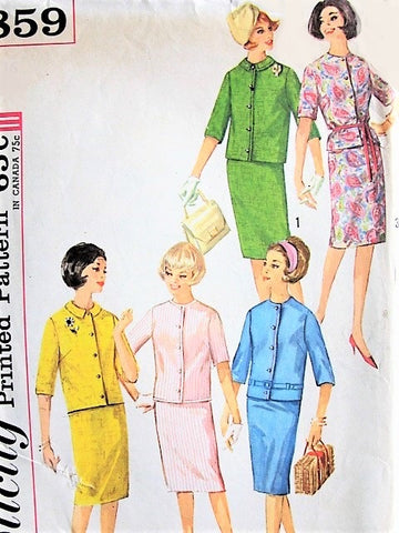60s CLASSIC Skirt and Jacket in Three Styles Simplicity 4859 Bust 32 Vintage Sewing Pattern