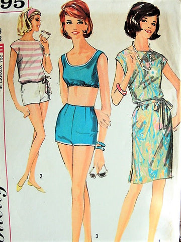 1960s BEACHWEAR Pattern Simplicity 4995 Two Pc High Waist Swimsuit, Bra Top, Shorts,Beachdress or Overblouse Coverup  Bust 33 Vintage Sewing Pattern