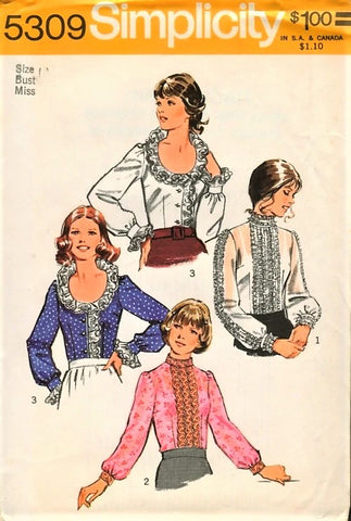 1970s FAB Blouse Pattern Simplicity 5309 Three Lovely Blouses,Steampunk,Boho,Frilly High Collar, Low Ruffled Neckline Bust 38 Vintage Sewing Pattern FACTORY FOLDED