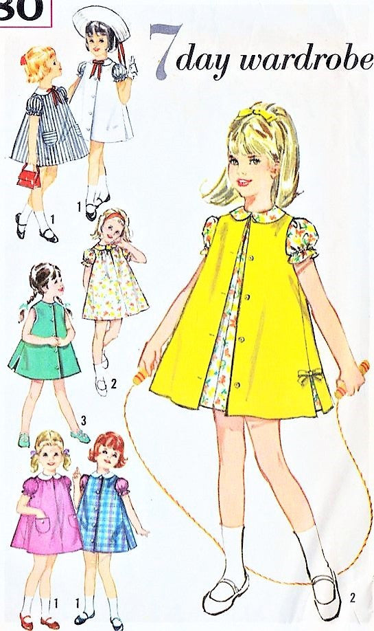 CUTE 60s Toddler Little Girls Dress Pattern SIMPLICITY 5380 Dress and Sleeveless Coat Sweet Style Size 6X Childrens Vintage Sewing Pattern UNCUT