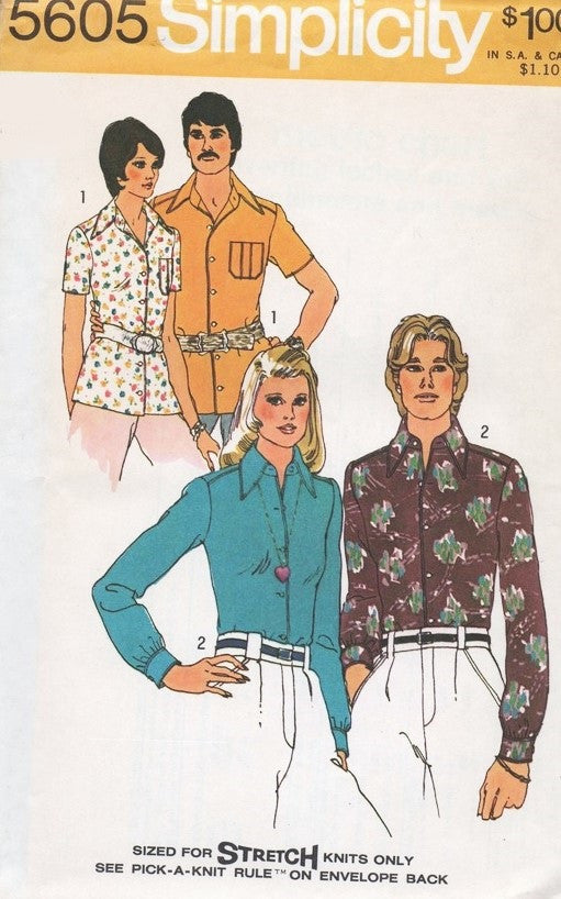 MENS Mod Fitted Body SHIRT Nik-Nik Shirt Pattern Simplicity 5605 Vintage Sewing Pattern Hip American Hustle Disco Chest 42-44 UNCUT