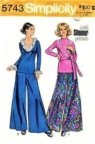 1970s EVENING Pants and Top Pattern SIMPLICITY 5743 Fab Palazzo Pants Wide Leg Pants, Ruffled Overblouse or Turtleneck Top Bust 39 Vintage Sewing Pattern FACTORY FOLDED