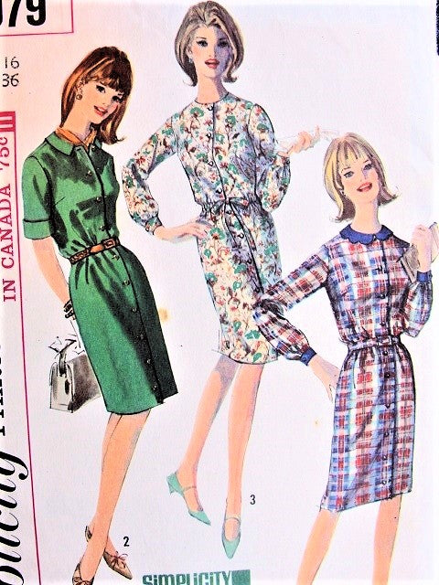 1960s CUTE Slim Shirt Dress Pattern SIMPLICITY 6079 Easy To Sew Bust 36 Vintage Sewing Pattern