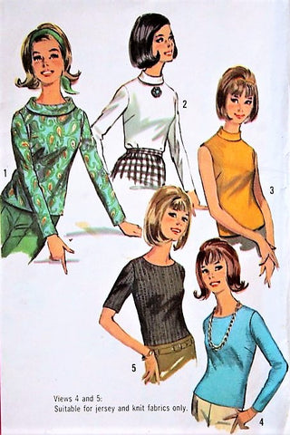 1960s FAB Set of Blouses Pattern SIMPLICITY 6138 Cute Rolled Collar Version FIVE Mod Styles Bust 32 Vintage Sewing Pattern