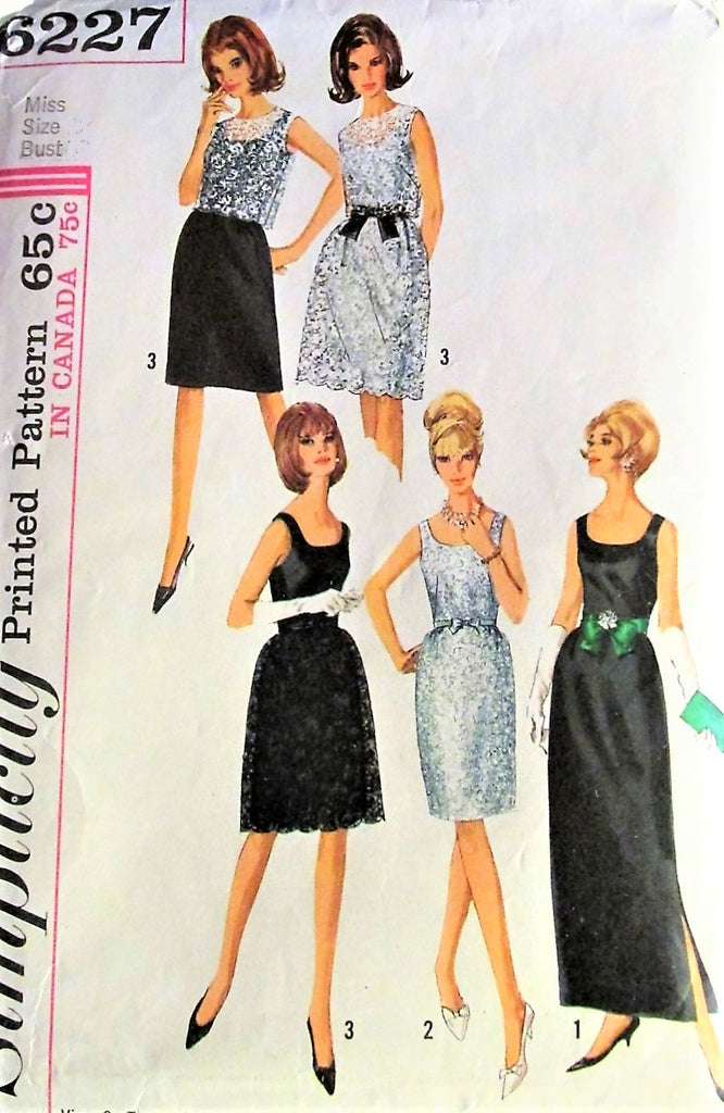 60s GLAM Evening Gown Lace Overskirt Dress Pattern SIMPLICITY 6227 Slim or Bell Skirt Cocktail Prom Dress Scoop Neck Bust 33 Vintage Sewing Pattern