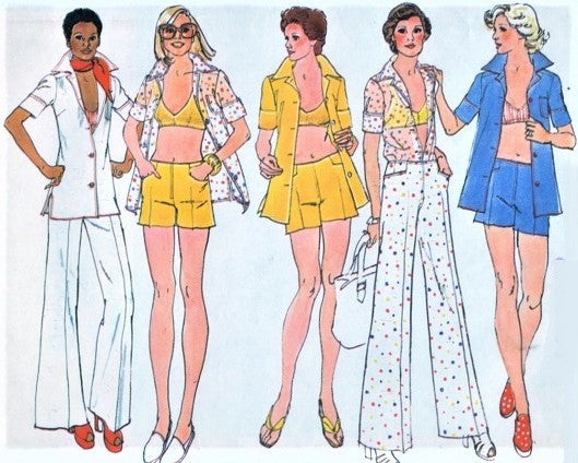 70s RETRO Beach Shirt Coverup, Bra Top, Hip Hugger Shorts or Pants Pattern SIMPLICITY 6411 Size 10 Vintage Sewing Pattern